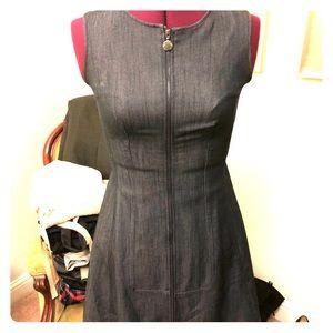 Form fitting full zip up Calvin Klein denim dress